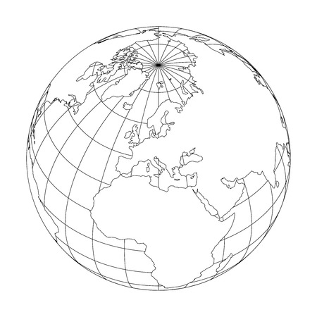Illustration for Outline Earth globe with map of World focused on Europe. Vector illustration. - Royalty Free Image