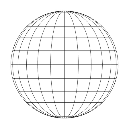 Illustration for Front view of planet Earth globe grid of meridians and parallels, or latitude and longitude. 3D vector illustration. - Royalty Free Image