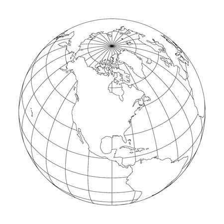 Illustration for Outline Earth globe with map of World focused on North America. Vector illustration. - Royalty Free Image