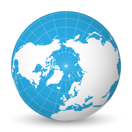 Earth globe with green world map and blue seas and oceans focused on Arctic Ocean and North Pole. With thin white meridians and parallels. 3D vector illustration.
