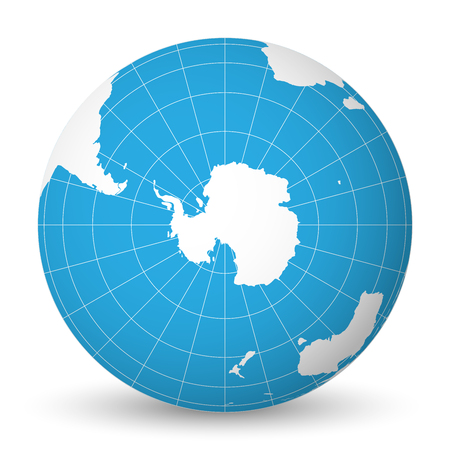Ilustración de Earth globe with green world map and blue seas and oceans focused on Antarctica with South Pole. With thin white meridians and parallels. 3D vector illustration. - Imagen libre de derechos