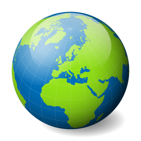 Ilustración de Earth globe with green world map and blue seas and oceans focused on Europe. With thin white meridians and parallels. 3D glossy sphere vector illustration. - Imagen libre de derechos