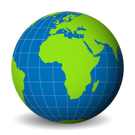 Earth globe with green world map and blue seas and oceans focused on Africa. With thin white meridians and parallels. 3D vector illustration.
