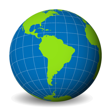 Earth globe with green world map and blue seas and oceans focused on South America. With thin white meridians and parallels. 3D vector illustration.