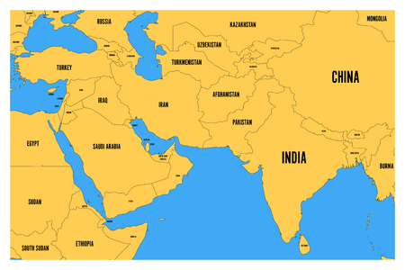 Illustration pour Political map of South Asia and Middle East. Simple flat vector map with yellow land and blue sea. - image libre de droit