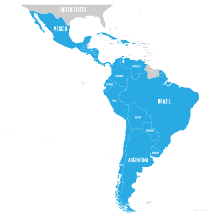 Political map of Latin America. L