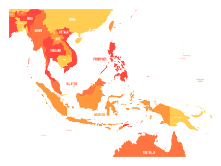 Illustration pour Map of Southeast Asia. Vector map in shades of orange. - image libre de droit