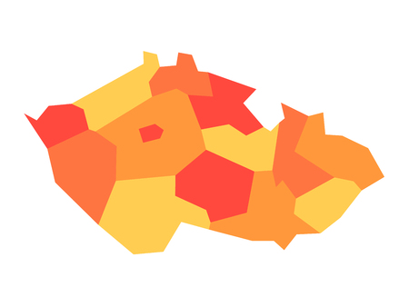 Map of Czech Republic divided into administrative regions. Blank map in four shades of orange. Vector illustration.