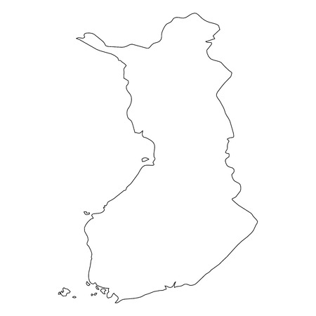 Finland - solid black outline border map of country area ...