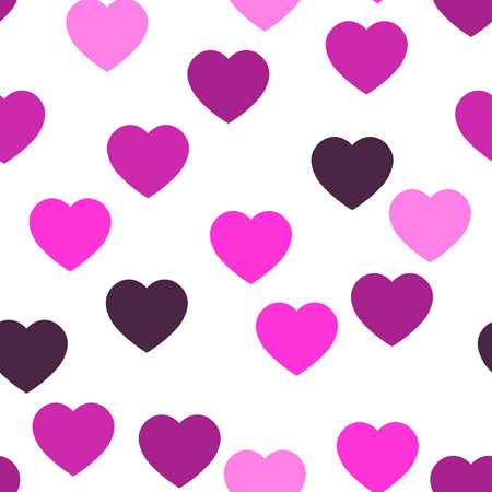 Photo pour Pink hearts seamless pattern. Random scattered hearts background. Love or Valentine theme. Vector illustration. - image libre de droit