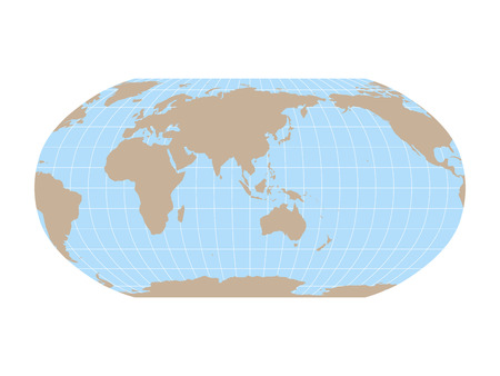 World Map in Robinson Projection with meridians and parallels grid. Asia and Australia centered. Brown land and blue sea. Vector illustration.