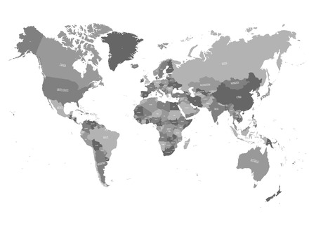 Illustration pour World map in four shades of grey on white background. High detail political map with country names. Vector illustration. - image libre de droit