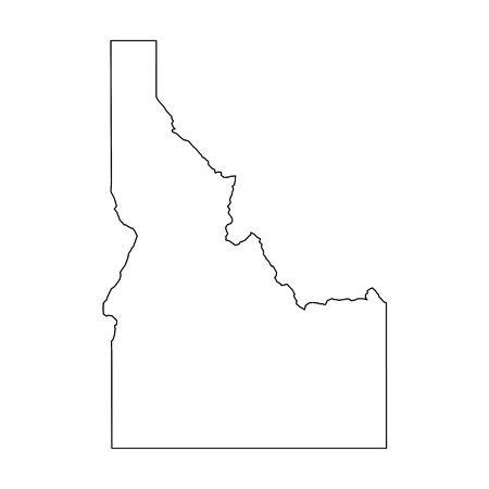 Illustration for Idaho, state of USA - solid black outline map of country area. Simple flat vector illustration. - Royalty Free Image