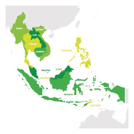 Illustration pour Southeast Asia Region. Map of countries in southeastern Asia. Vector illustration. - image libre de droit