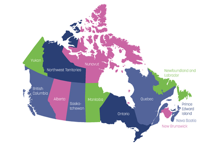 Map Of Canada With Labels.Map Of Canada Divided Into 10 Provinces And 3 Territories
