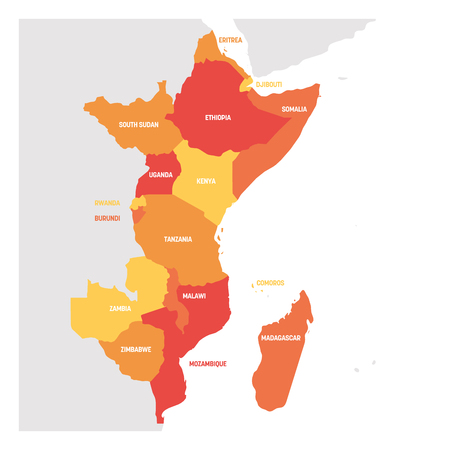 Illustration pour East Africa Region. Map of countries in eastern Africa. Vector illustration. - image libre de droit