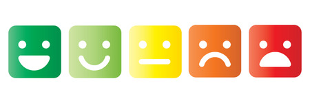 Illustration pour Basic emoticons set in square with rounded corners. Five facial expression of feedback scale - from positive to negative. Simple colored vector icons. - image libre de droit