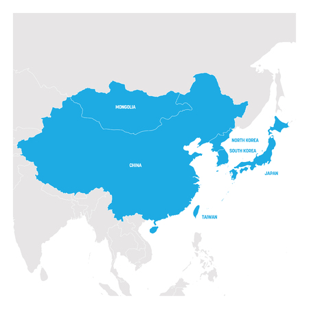 Illustration pour East Asia Region. Map of countries in eastern Asia. Vector illustration. - image libre de droit