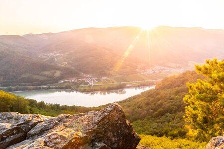 Photo pour Sunset in Wachau Valley with Danube River, Austria. - image libre de droit