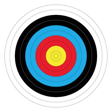Illustration pour Outdoor archery target in traditional colors - yellow, red, blue, black and white. Vector illustration. - image libre de droit