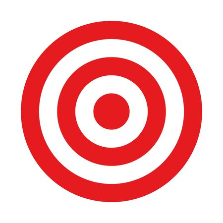 Illustration pour Red and white target. Hunting, shooting sport or achievement symbol. Simple vector icon. - image libre de droit