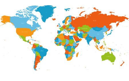 Illustration pour World map. High detailed political map of World with country names labeling. 5 colors scheme vector map on white background. - image libre de droit