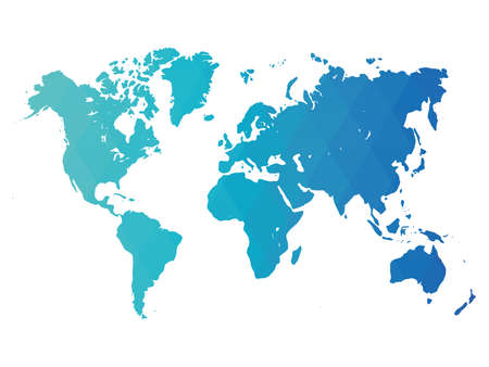 Illustration pour Map of World. Blue low poly gradient of rhombus shapes. Modern vector polygonal design. - image libre de droit