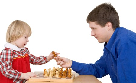 Man give child chess-man on a white background