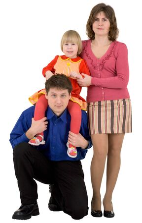 Man,woman and child on a white background