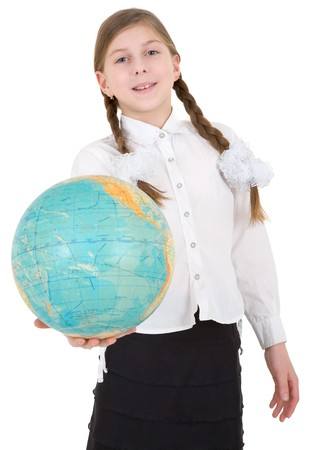 Girl with globe on a white background