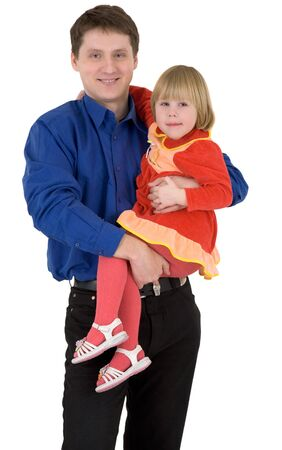 Man hold the girl on a white background