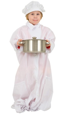 Little girl in white overall with saucepan