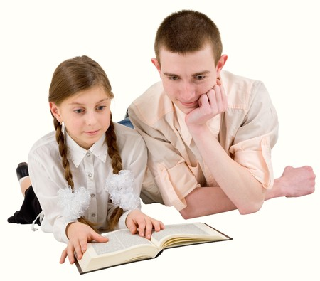 Man and girl read book on white background