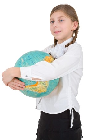 Schoolgirl with globe on a white background