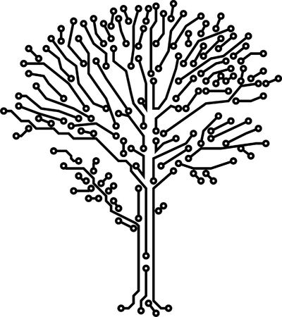 Vector tree crone made of electronic paths of black color