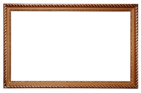 Wooden frame for paintings isolated on white background