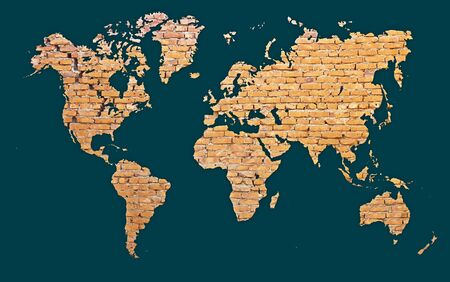 World map with continents made of red brick - abstract background