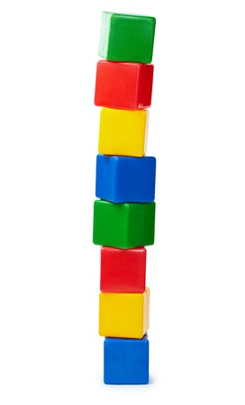 Tower of colored cubes toy isolated on white background