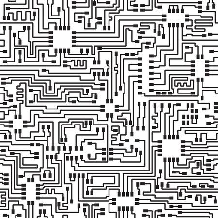 Seamless hi-tech electronic monochrome pattern - vector eps8