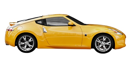 Yellow car sport coupe isolated on white background