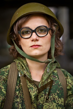 Comic portrait of a woman in military uniformの写真素材