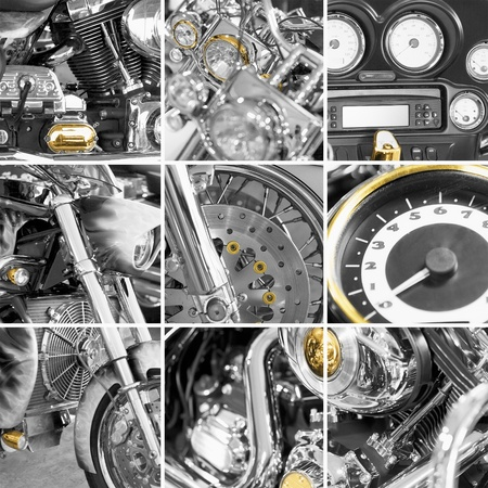 A collage from fragments old motorcycles