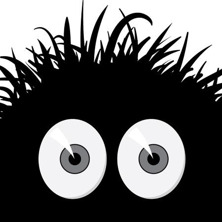 Dark, strange, comic frightened creature illustration