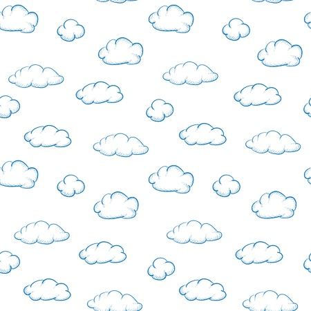 Blue drawing clouds on a white background - seamless texture