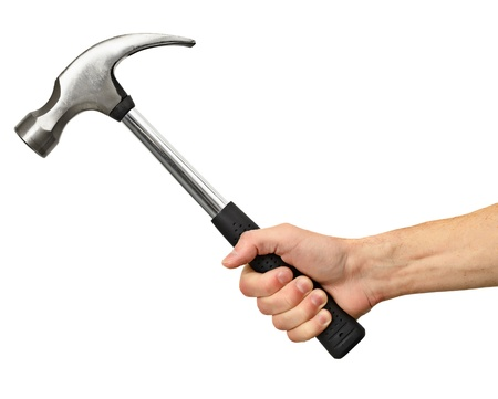 Big hammer in hand isolated on white background