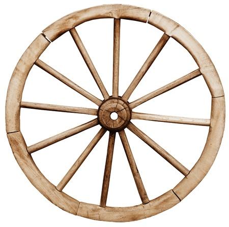 Big vintage rustic telega wheel isolated on white background
