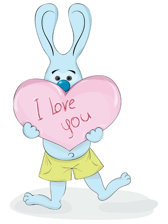 cartoon rabbit holding in the paws of the heart with the inscription I love you