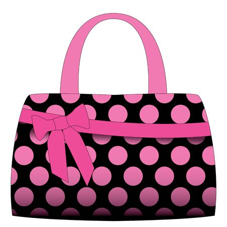 Illustration pour black handbag in pink polka dots on a white background - image libre de droit