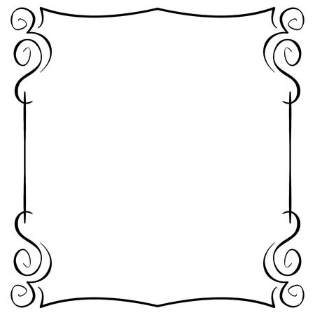 Ornate vector frame on white background. Hand drawing