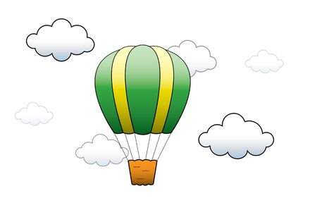 Bright Hot Air Balloon flying in the sky